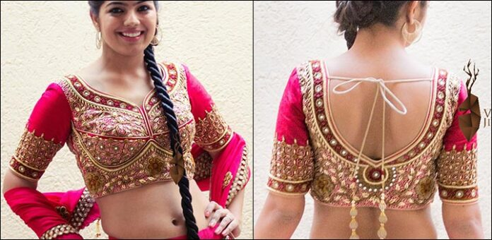Pink And Red Embroidered Blouse Back Neck Design