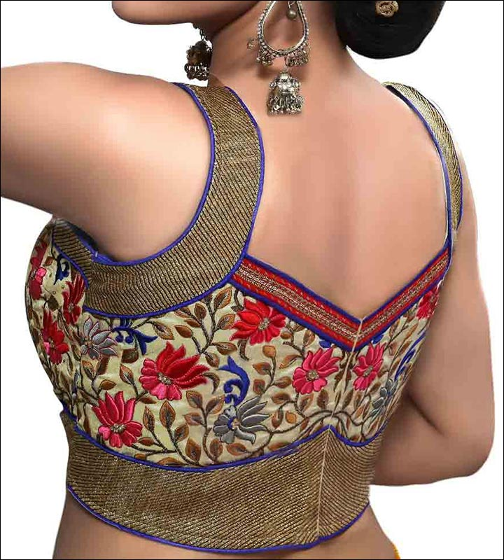 Black And Gold Embroidered Traditional Blouse Back Neck Design