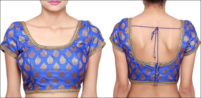 peacock-blue-and-also-gold-blouse-back-neck-design-and-style