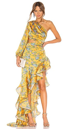 floral-print-gown