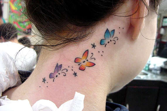 Butterfly tattoo for girls on neck